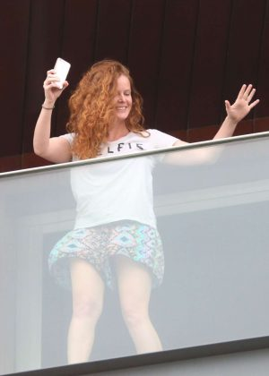 Rebecca Mader at Her Hotel Room Balcony in Rio De Janeiro
