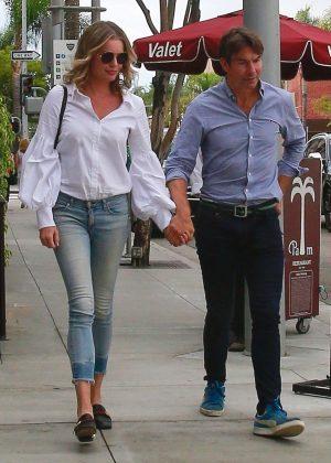 Rebecca Romijn in Jeans - Leaving a restaurant in Beverly Hills