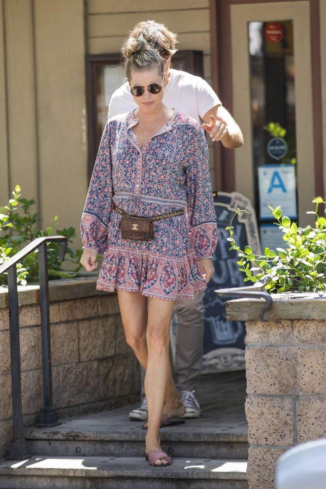 Rebecca Romijn in Mini Dress at The Six Restaurant in Calabasas