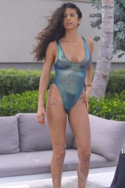 Rebecca Scott in Colorful Bikini at her luxury hotel in Miami