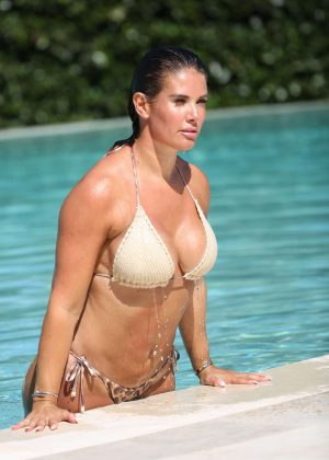 Rebekah Vardy in Bikini on the Pool in Portugal