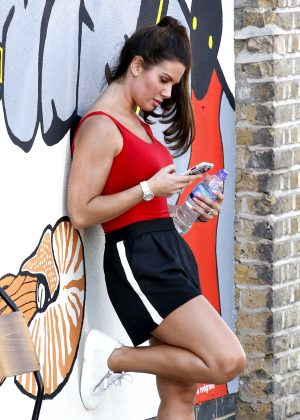 Rebekah Vardy in Shorts Out in Shoreditch