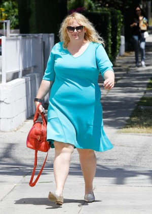 Rebel Wilson in Blue Dress arrives to a studio in LA