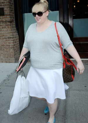 Rebel Wilson in White Skirt Leaving her hotel in NYC
