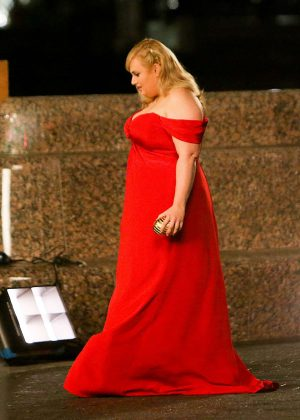 Rebel Wilson on the set of t'Isn't It Romantic' in New York City