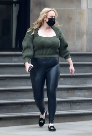 Rebel Wilson - Seen showing off her weight loss in leather pants in London