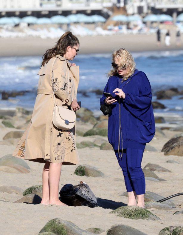 Rebel Wilson - With her friend on the beach in Santa Barbara