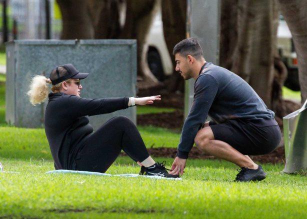 Rebel Wilson - Workout in a Sydney park