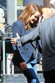 Reese Witherspoon as brunette filming scenes on the set of 'The Morning Show