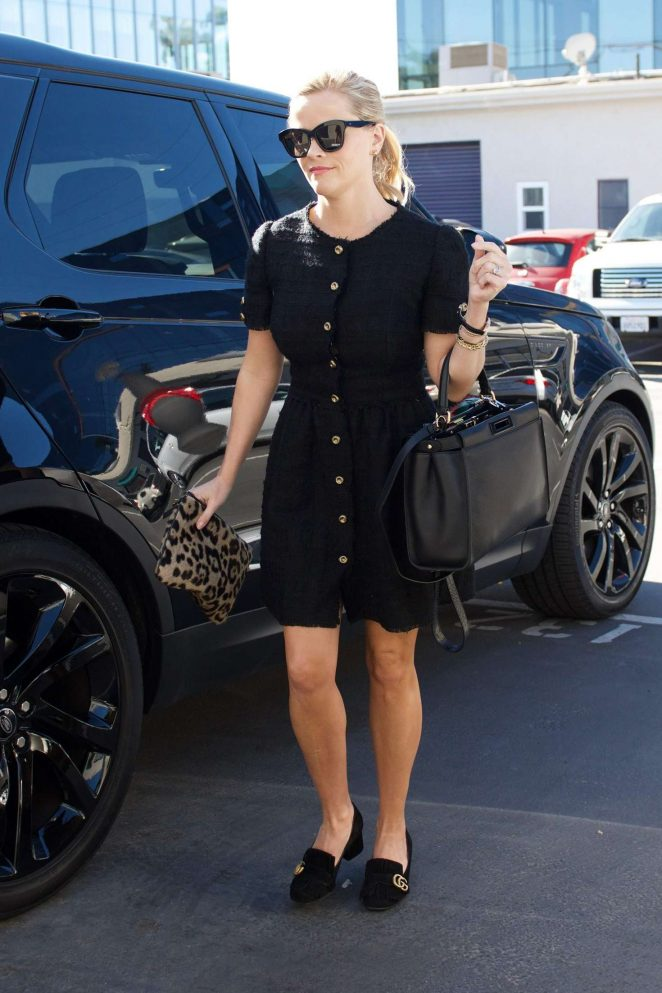 Reese Witherspoon in Black Dress - Head to her office in Brentwood
