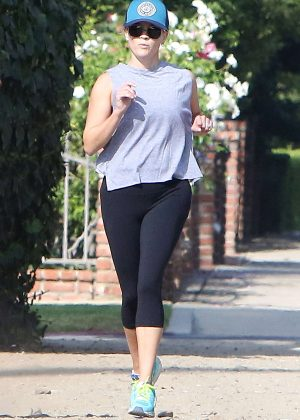 Reese Witherspoon in Black Leggings in Brentwood