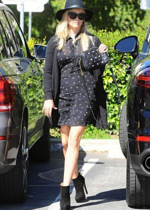 Reese Witherspoon in Black Mini Dress out in Los Angeles