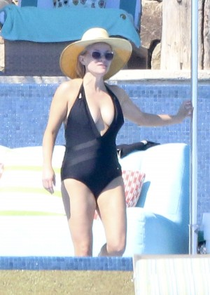 Reese Witherspoon in Black Swimsuit in Cabo San Lucas