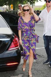 Reese Witherspoon in Floral Dress - Outside Laperouse Restaurant in Paris