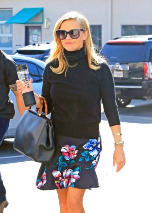 Reese Witherspoon in Floral Skirt - Heads to work in LA
