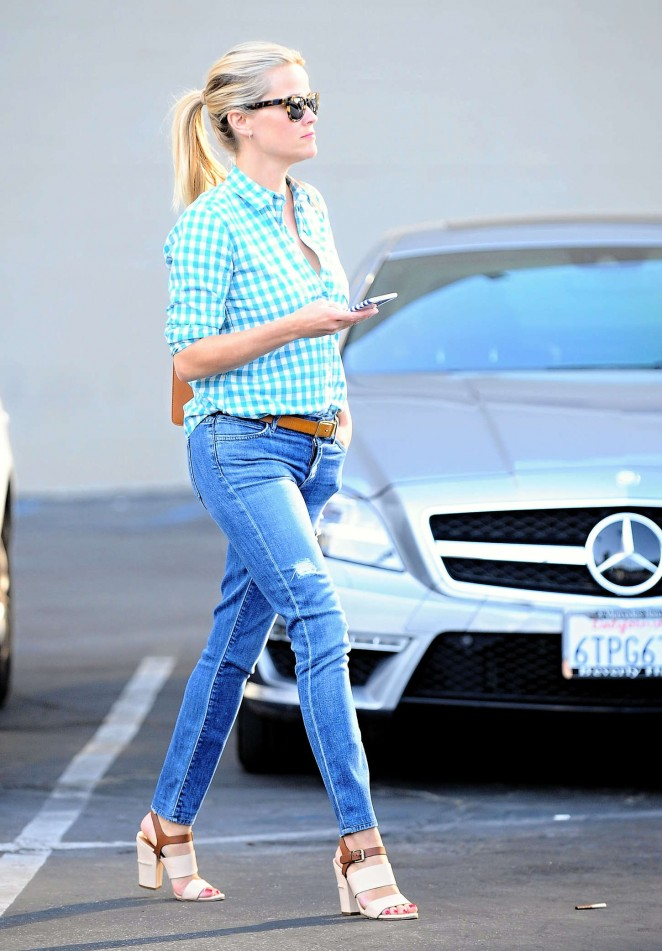 Reese Witherspoon in jeans out in Westwood