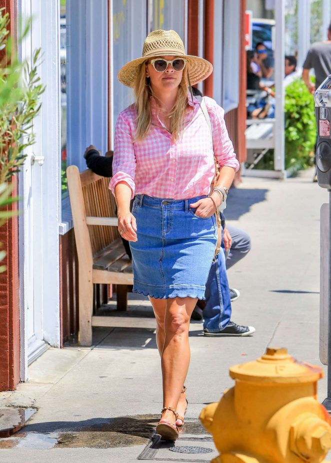 Reese Witherspoon in Jeans Skirt – Out in Los Angeles