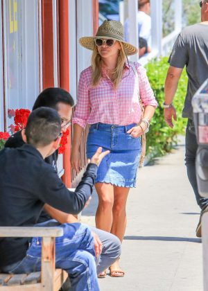 Reese Witherspoon in Jeans Skirt out in Los Angeles