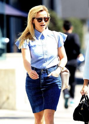 Reese Witherspoon in Jeans Skirt out in West Hollywood