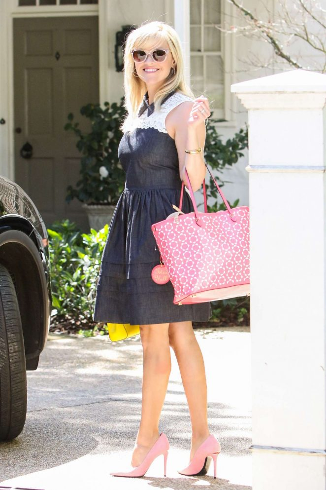 Reese Witherspoon in Laced Blue Dress out in Los Angeles