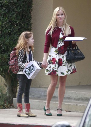 Reese Witherspoon in Mini Dress Filming in Los Angeles