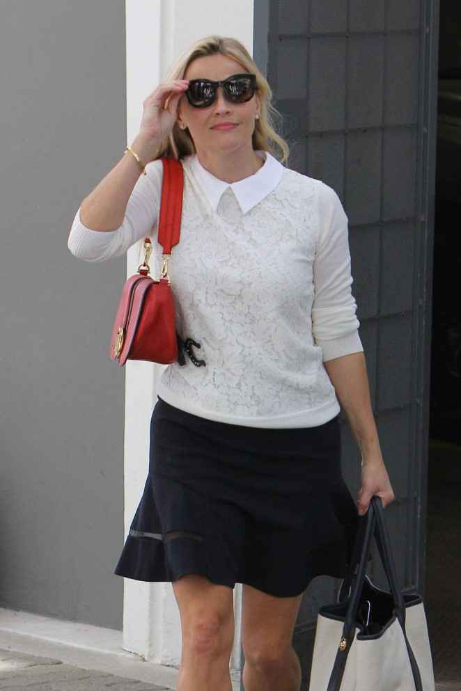 Reese Witherspoon in Mini Skirt Leaving her Office in Beverly Hills