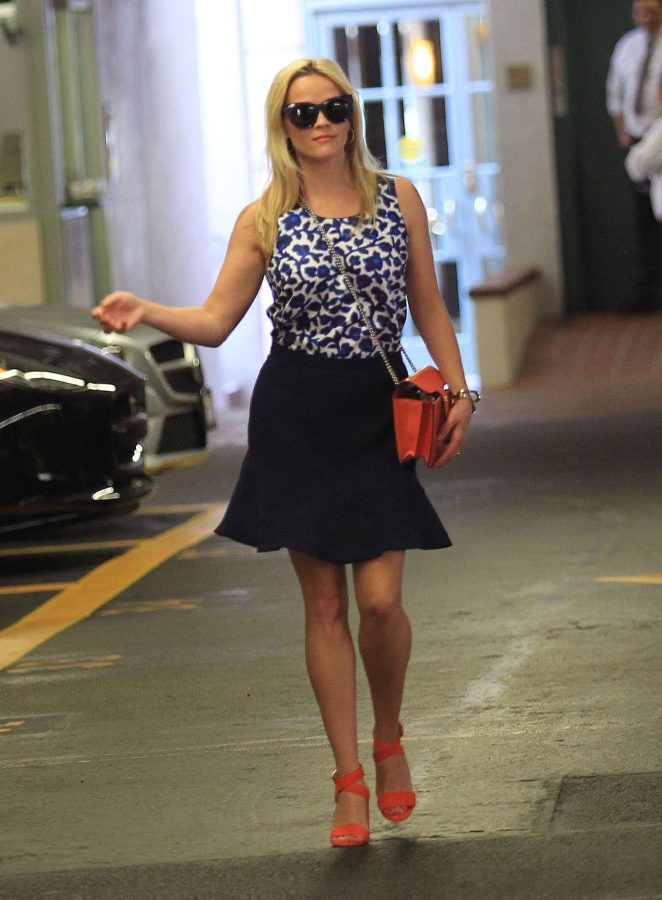 Reese Witherspoon in Mini Skirt Out in Beverly Hills