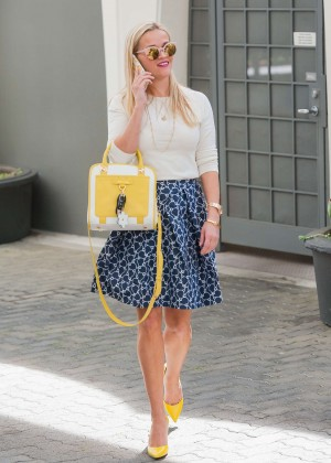 Reese Witherspoon in Mini Skirt out in Los Angeles
