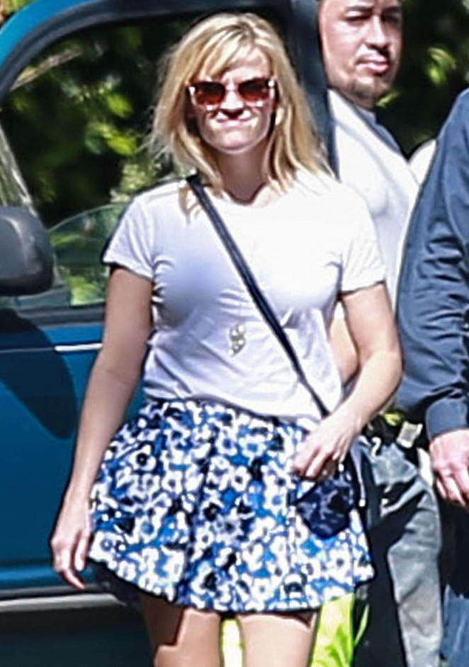 Reese Witherspoon in Mini Skirt out in Pacific Palisades