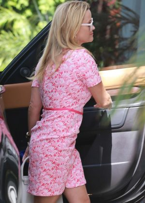 Reese Witherspoon in Pink Dress - Out in Beverly Hills