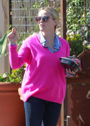Reese Witherspoon in Pink Sweater out in Los Angeles