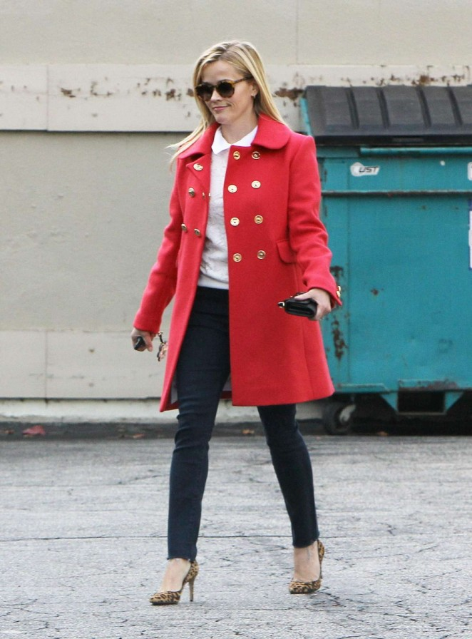 Reese Witherspoon in Red Coat out in LA