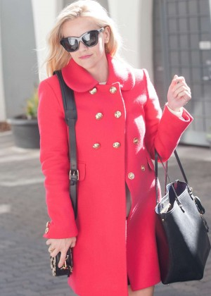Reese Witherspoon in Red Coat out in Los Angeles