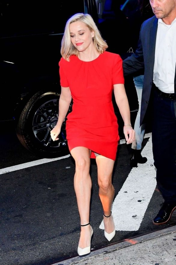 Reese Witherspoon in Red Dress - Good Morning America Show in NY