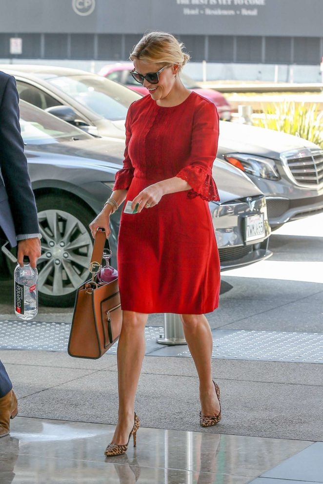 Reese Witherspoon in Red Dress - Out for a Business Meeting in LA