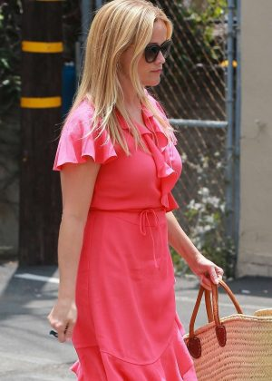 Reese Witherspoon in Red Dress - Visting a skin care clinic in Brentwood