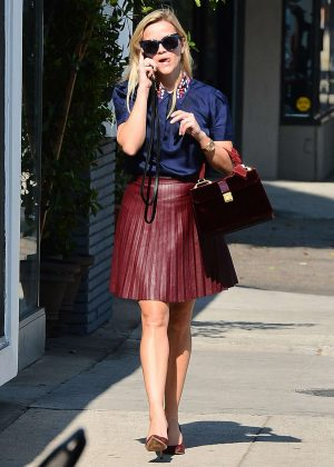 Reese Witherspoon in Red Skirt out in Beverly Hills
