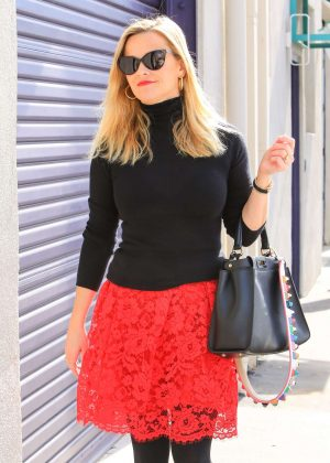 Reese Witherspoon in Red Skirt out in Los Angeles
