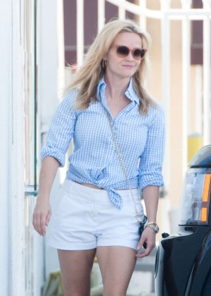 Reese Witherspoon in White Shorts Out in LA