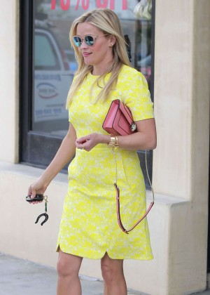 Reese Witherspoon in Yellow Dress Shopping in Los Angeles