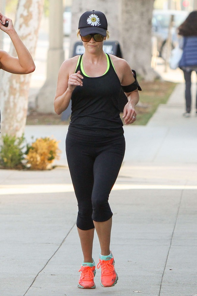 Reese Witherspoon in Tights Jogging in LA