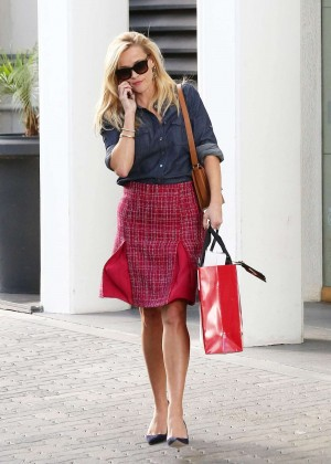 Reese Witherspoon in Red Skirt Leaving her office in LA