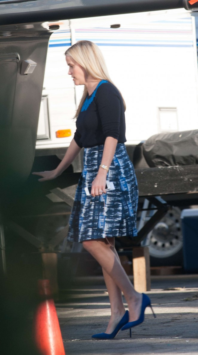 Reese Witherspoon on the set of 'Big Little Lies' in Los Angeles
