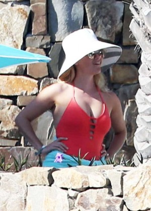 Reese Witherspoon in Red Swimsuit on vacation in Cabo San Lucas