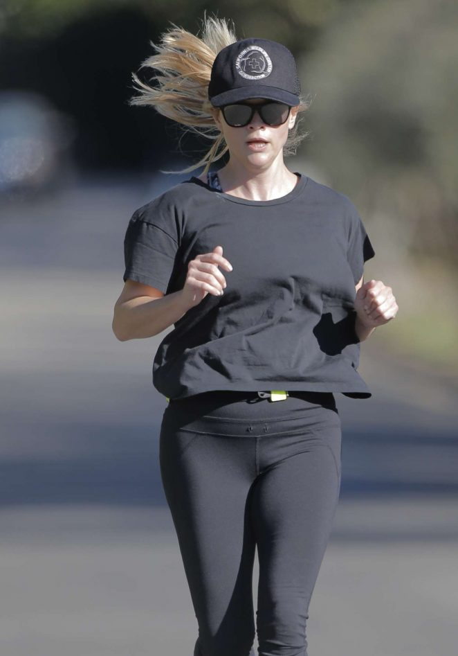 Reese Witherspoon out for a jog in Brentwood -05