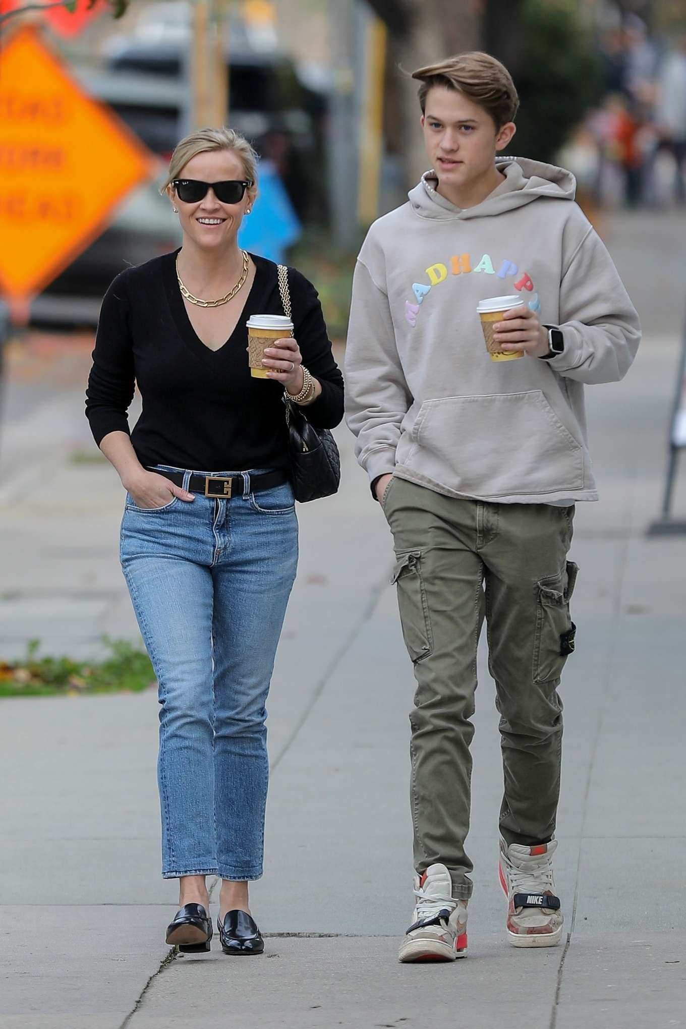 Reese Witherspoon - Seen with her son in Brentwood