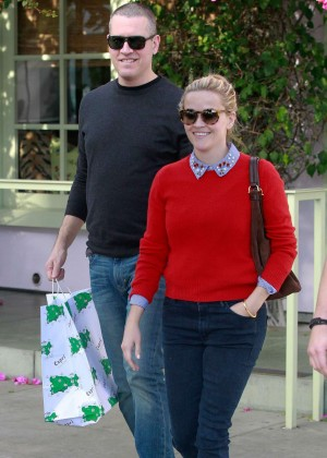 Reese Witherspoon in Red Sweater out in Santa Monica