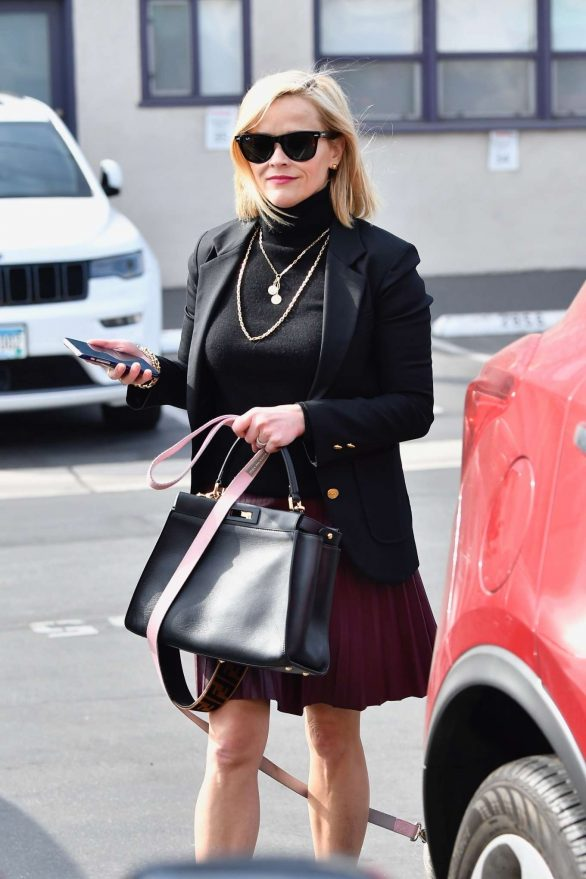 Reese Witherspoon 2019 : Reese Witherspoon – Wears a pleated purple skirt at her office with her bulldog-09