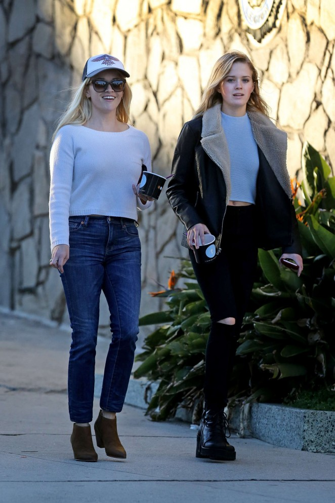Reese Witherspoon with her daughter in the Pacific Palisades
