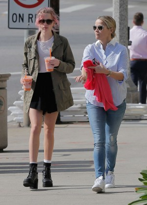 Reese Witherspoon with her daughter out in Brentwood